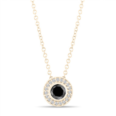 Black Diamond Pendant Necklace 14K Yellow Gold 0.50 Carat Halo Bezel And Micro Pave Set Handmade