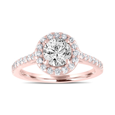 Rose Gold Diamond Engagement Ring, Gia Certified Bridal Ring, Halo Pave Wedding Ring, 1.55 Carat Handmade