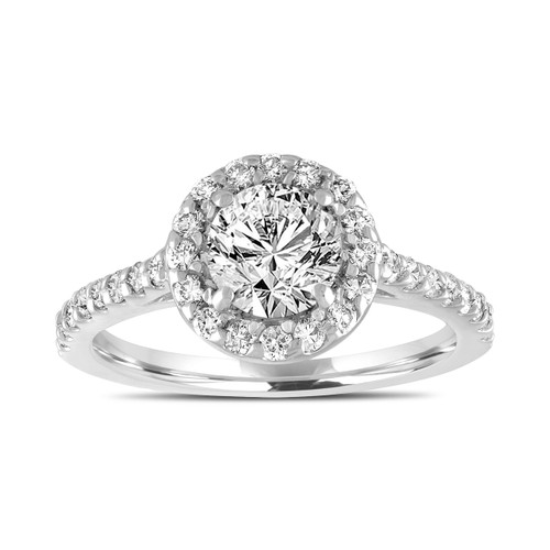 Platinum Diamond Engagement Ring, Gia Diamond Bridal Ring, 1.55 Carat Halo Pave Wedding Ring, Handmade