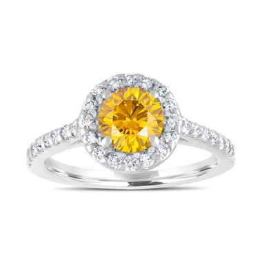Fancy Yellow Diamond Engagement Ring, Canary Yellow Bridal Ring, Wedding Ring 1.55 Carat 14K White Gold Unique Halo Pave Certified Handmade