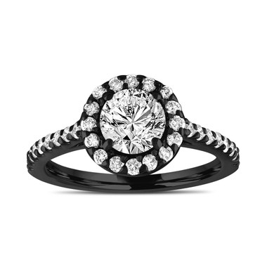 Unique Diamond Engagement Ring, Vintage Style Bridal Ring, Gia Certified Halo Pave Wedding Ring, 14k Black Gold 1.55 Carat Handmade
