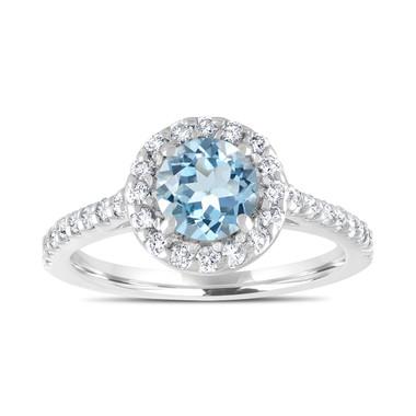 1.40 Carat Aquamarine Engagement Ring, With Diamonds Bridal Ring, Wedding Ring, 14K White Gold Certified Halo Pave Handmade