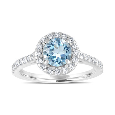 Platinum Aquamarine Engagement Ring, With Diamonds Bridal Ring, 1.40 Carat Wedding Ring, Certified Halo Pave Handmade