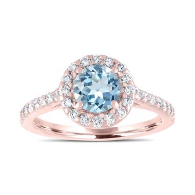 Rose Gold Aquamarine Engagement Ring, With Diamonds Bridal Ring, Blue Aquamarine Wedding Ring, 1.40 Carat Certified Halo Pave Handmade