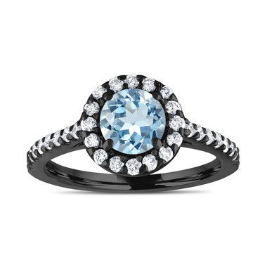Blue Aquamarine Engagement Ring, Vintage Style Bridal Ring, Wedding Ring, 1.40 Carat 14K Black Gold Certified Halo Pave Handmade
