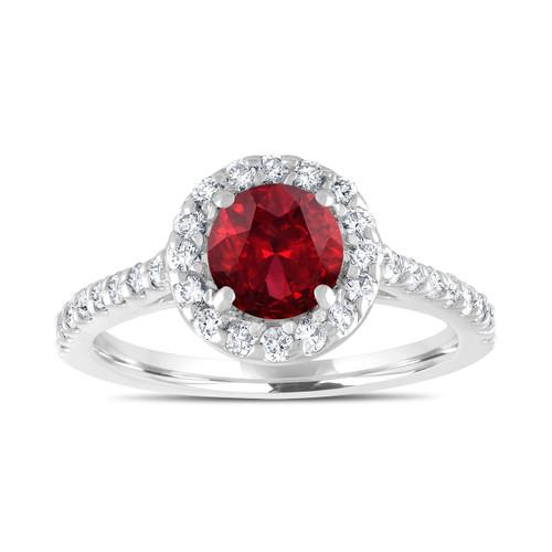 1.69 Carat Garnet Engagement Ring, With Diamonds Bridal Ring, Red Garnet Wedding Ring, 14K White Gold Certified Halo Pave Handmade