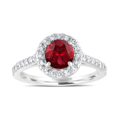 1.69 Carat Garnet Engagement Ring, With Diamonds Bridal Ring, Red Garnet Wedding Ring, 14K White Gold Certified Halo Pave Handmade