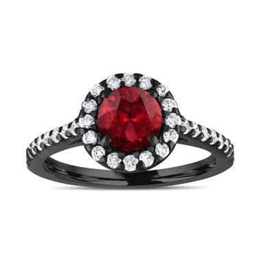 Vintage Style Garnet Engagement Ring, With Diamonds Bridal Ring, Red Garnet Ring, 14K Black Gold 1.69 Carat Certified Halo Pave Handmade