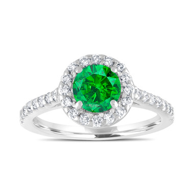 Green Diamond Engagement Ring, Fancy Bridal Ring, Wedding Ring 1.55 Carat 14K White Gold Unique Halo Pave Certified Handmade