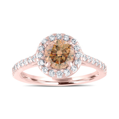 Rose Gold Champagne Diamond Engagement Ring, Fancy Brown Diamond Bridal Ring, Wedding Ring 1.55 Carat Unique Halo Pave Certified Handmade