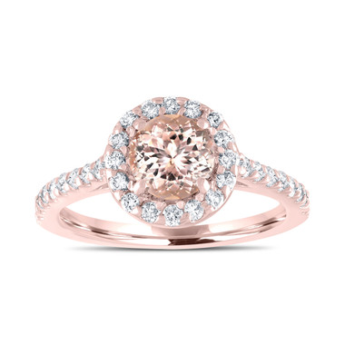 Halo Pink Morganite Engagement Ring, Rose Gold Bridal Ring, Peach Morganite Wedding Ring, Certified Pave Handmade