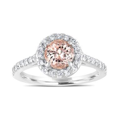 1.44 Carat Morganite Engagement Ring, With Diamonds Bridal Ring, Peach Morganite Wedding Ring, 14K White Gold Certified Halo Pave Handmade