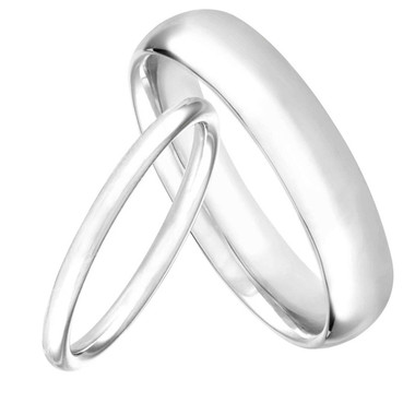 Platinum His and Hers Wedding Bands, Matching Wedding Rings, Couple Wedding Bands Set, Anniversary Bands, 6 mm and 2 mm