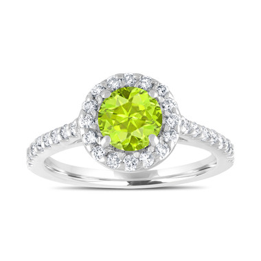 1.54 Carat Peridot Engagement Ring, With Diamonds Bridal Ring, Green Peridot Wedding Ring, 14K White Gold Certified Halo Pave Handmade