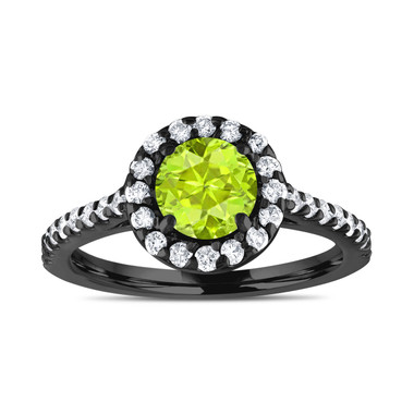 Vintage Style Peridot Engagement Ring, With Diamonds Bridal Ring, 1.54 Carat 14K Black Gold Certified Halo Pave Handmade