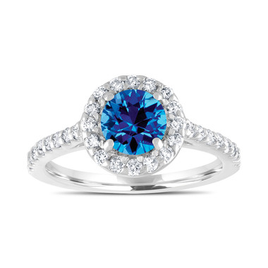 1.54 Carat Blue Topaz Engagement Ring, With Diamonds Bridal Ring, Wedding Ring, 14K White Gold Certified Halo Pave Handmade