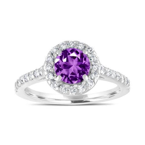 Amethyst Engagement Ring, With Diamonds Bridal Ring, 1.54 Carat Wedding Ring, 14K White Gold Certified Halo Pave Handmade