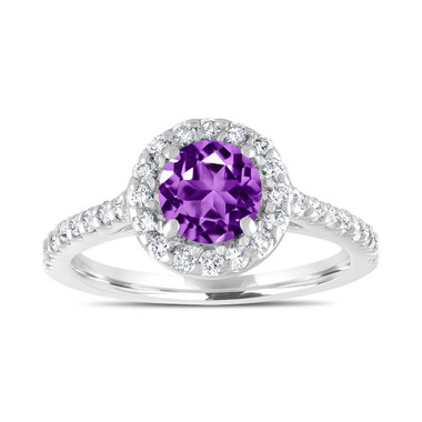 Platinum Amethyst Engagement Ring, Purple Amethyst Bridal Ring, Wedding Ring, 1.54 Carat Certified Halo Pave Handmade