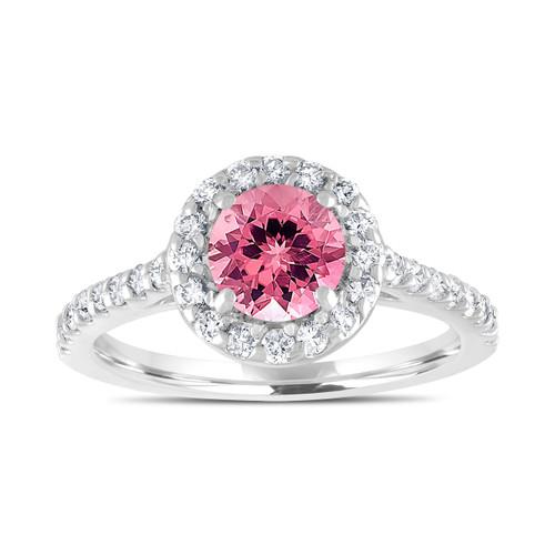 Pink Tourmaline Engagement Ring, With Diamonds Bridal Ring, Wedding Ring, 1.54 Carat 14K White Gold Certified Halo Pave Handmade