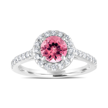 Pink Tourmaline Engagement Ring, With Diamonds Bridal Ring, Wedding Ring, 1.54 Carat 14K White Gold Certified Halo Pave Handmade