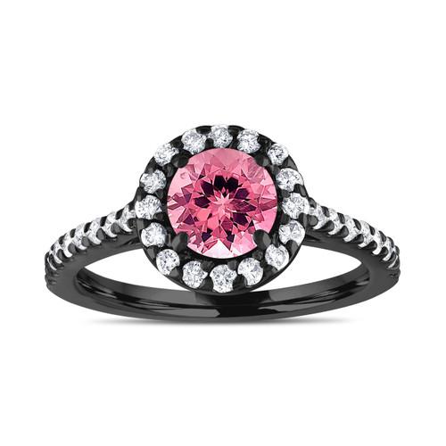 Pink Tourmaline And Diamonds Engagement Ring, 1.54 Carat 14K Black Gold Certified Halo Handmade