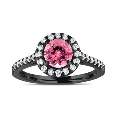 Pink Tourmaline And Diamonds Engagement Ring, 1.54 Carat 14K Black Gold Certified Halo Handmade