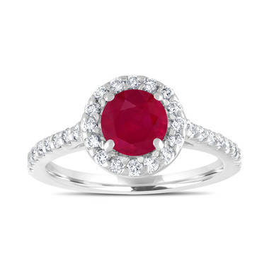 1.54 Carat Ruby Engagement Ring, With Diamonds Bridal Ring, Red Ruby Wedding Ring, 14K White Gold Certified Halo Pave Handmade