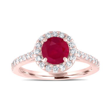 Ruby Engagement Ring, With Diamonds Bridal Ring, Red Ruby Wedding Ring, 1.54 Carat 14K Rose Gold Certified Halo Pave Handmade