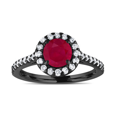 Vintage Ruby Engagement Ring, With Diamonds Bridal Ring, Red Ruby Wedding Ring, 1.54 Carat 14K Black Gold Certified Halo Pave Handmade
