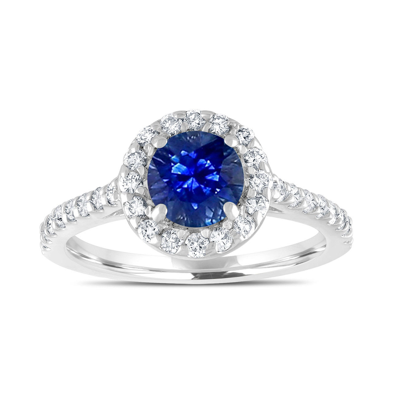 Sapphire Wedding Rings.Sapphire Engagement Ring With Diamonds Bridal Ring Blue Sapphire Wedding Ring 1 54 Carat 14k White Gold Certified Halo Pave Handmade
