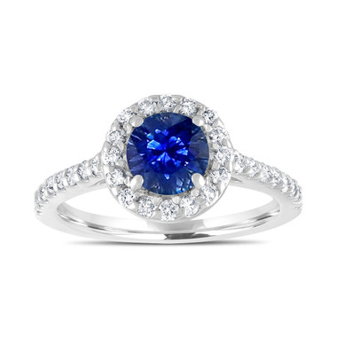 Sapphire Engagement Ring, With Diamonds Bridal Ring, Blue Sapphire Wedding Ring, 1.54 Carat 14K White Gold Certified Halo Pave Handmade