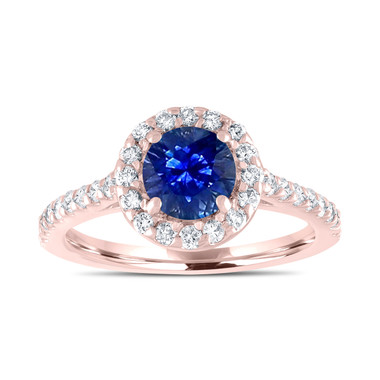 Sapphire Engagement Ring, Rose Gold Bridal Ring, 1.54 Carat Certified Halo Pave Handmade