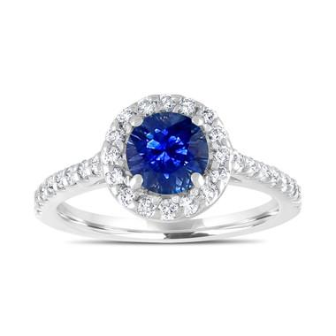 Platinum Sapphire Engagement Ring, Diamond Bridal Ring, Blue Sapphire Wedding Ring, 1.54 Carat Certified Halo Pave Handmade