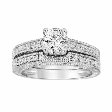 Diamond Engagement Ring Set, Bridal Rings Set, Gia Certified 14K White Gold 1.06 Carat Unique Vintage Antique Style Engraved handmade
