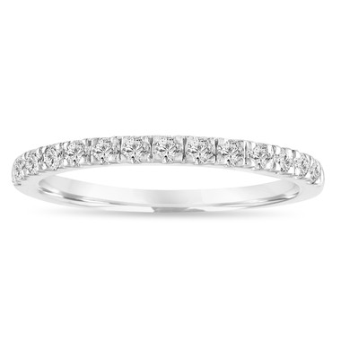 Diamond Wedding Ring, Half Eternity Band, Anniversary Ring, Stackable Ring 0.28 Carat 14k White Gold Handmade
