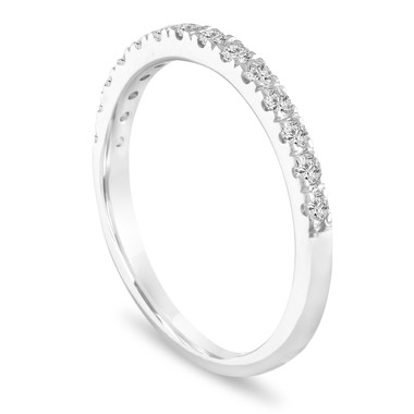Platinum Diamond Wedding Ring, Half Eternity Band, Pave Anniversary Ring, Stackable Ring 0.28 Carat Handmade
