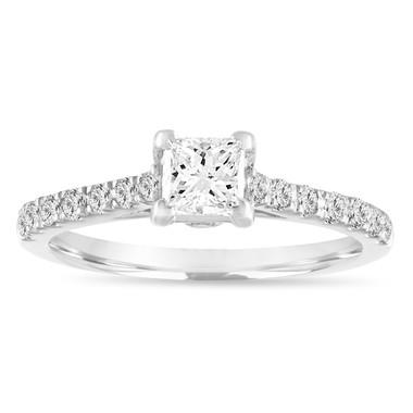 Princess Cut Diamond Engagement Ring, Platinum Diamond Bridal Ring, GIA Certified Wedding Ring 0.81 Carat Handmade