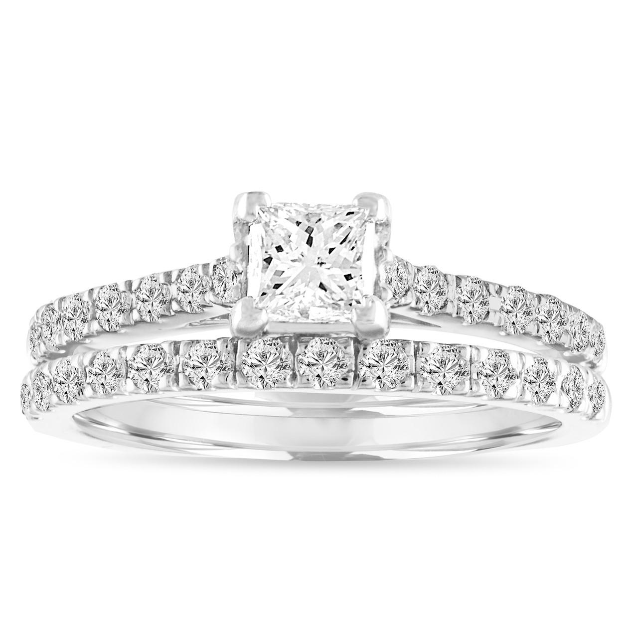 Diamond Engagement Ring Set Princess Cut Diamond Bridal Ring Set