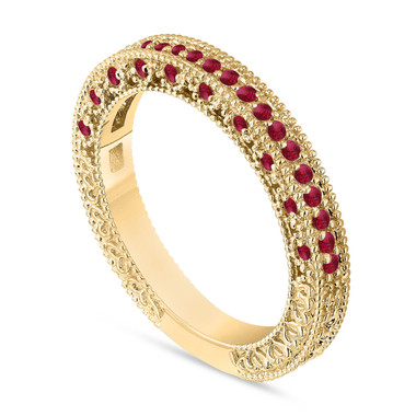 Gold Ruby Wedding Band, Anniversary Ring, Half Eternity Ring, 14K Yellow Gold Vintage Style Unique Handmade Birthstone Pave 0.38 Carat
