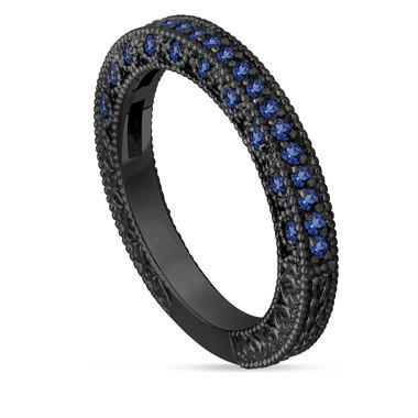 Blue Sapphire Wedding Band, Half Eternity Ring, Anniversary Ring, 14K Black Gold Vintage Style Unique Handmade Birthstone 0.38 Carat