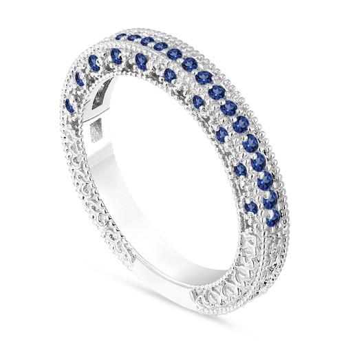 Sapphire Wedding Band, Sapphire Anniversary Ring, Half Eternity Ring, 14K White Gold Vintage Style Unique Handmade Birthstone 0.38 Carat