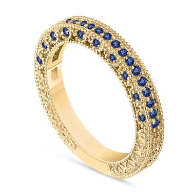 Gold Sapphire Wedding Band, Sapphire Anniversary Ring, Half Eternity Ring, 14K Yellow Gold Vintage Style Handmade Birthstone 0.38 Carat