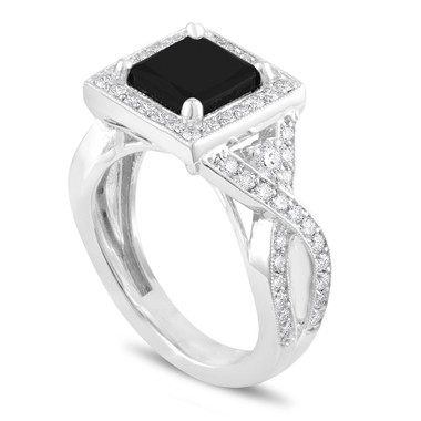 Princess Cut Black Diamond Engagement Ring, Unique Black Diamond Bridal Ring, Halo Pave 2.64 Carat Certified 14k White Gold Handmade