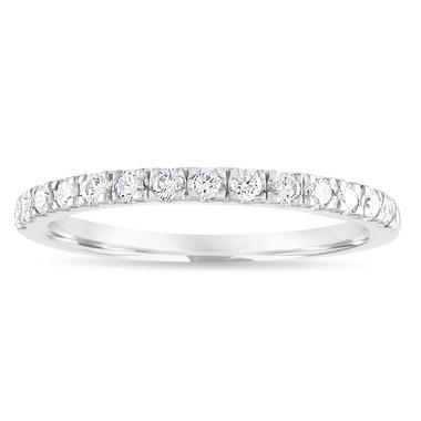 VS2 Diamond Wedding Ring, Platinum Half Eternity Band, Pave Anniversary Ring, Stackable Ring 0.28 Carat Handmade