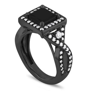 Princess Diamond Engagement Ring, Black Diamond Bridal Ring, Unique Vintage Style, Halo Pave 2.64 Carat Certified 14k Black Gold Handmade