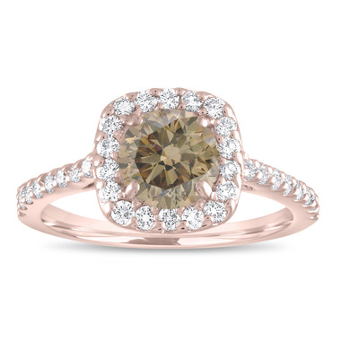 Halo Engagement Ring, Champagne Diamond Bridal Ring, Fancy Brown Diamond Ring, 1.58 Carat 14K Rose Gold Pave Unique Certified Handmade