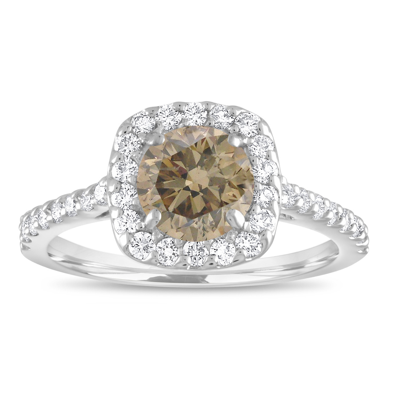 0372dc25329c6 Platinum Engagement Ring, Champagne Diamond Bridal Ring, Fancy Brown  Diamond Ring, Halo Pave 1.58 Carat Unique Certified Handmade