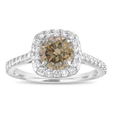 Platinum Engagement Ring, Champagne Diamond Bridal Ring, Fancy Brown Diamond Ring, Halo Pave 1.58 Carat Unique Certified Handmade