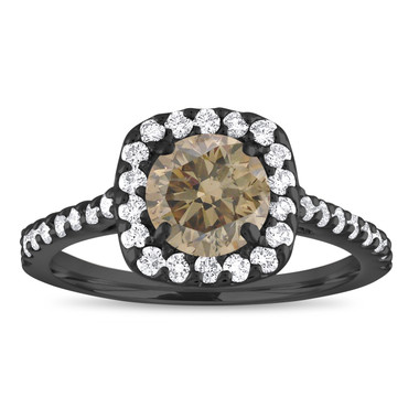Vintage Halo Engagement Ring, Champagne Diamond Bridal Ring, Brown Diamond Ring, Pave 1.58 Carat 14K Black Gold Unique Certified Handmade