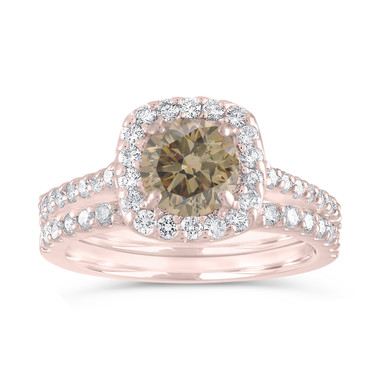 Halo Engagement Ring Set, Champagne Diamond Bridal Ring Sets, Brown Diamond Wedding Set, 1.87 Carat 14K Rose Gold Unique Certified Handmade